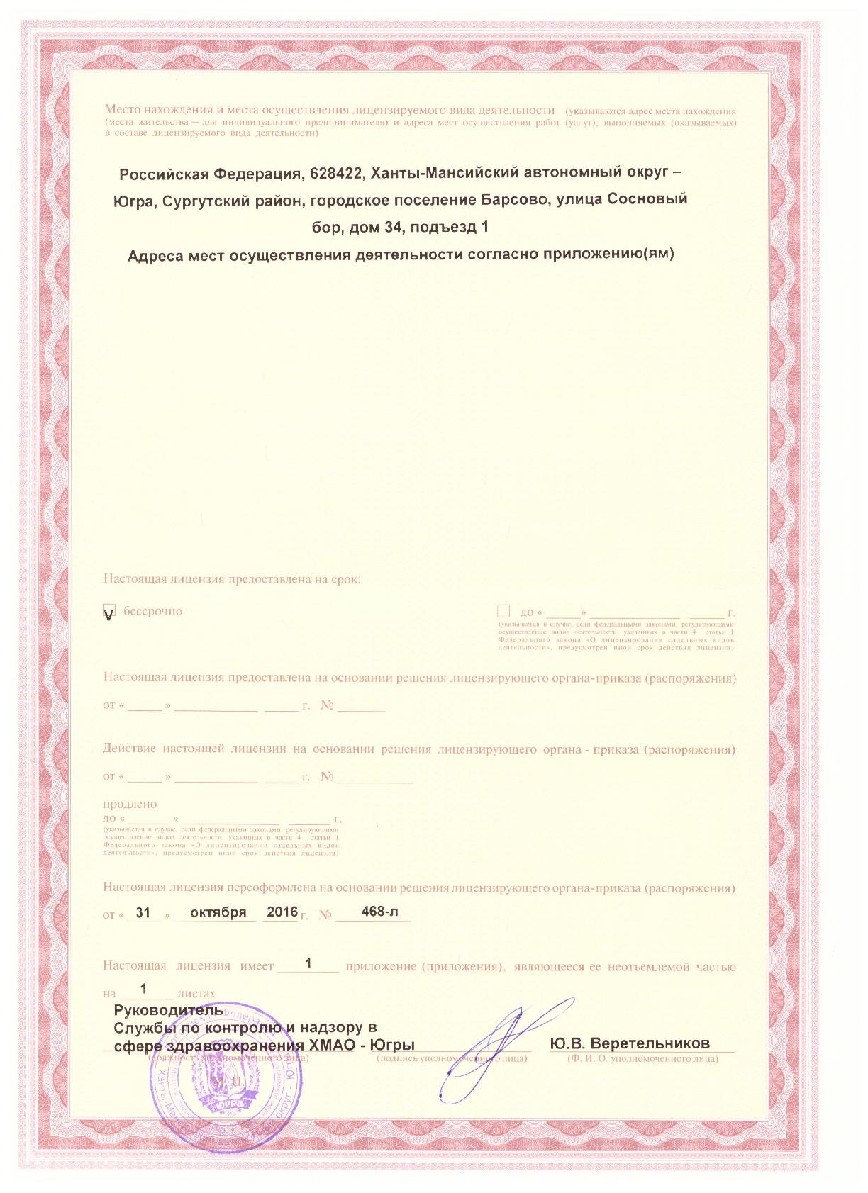 Лицензия на осуществление медицинской деятельности от 31.10.2016 (страница 2)